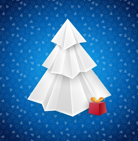 blue christmas greeting card with white paper origami christmas tree Stock Vector - 11267451
