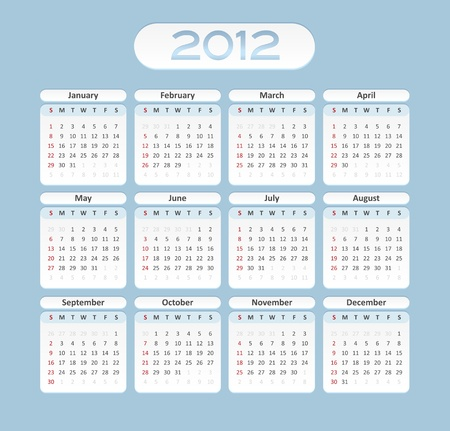 2012 elegant calendar template - mounthly layout - blue and white color Vector