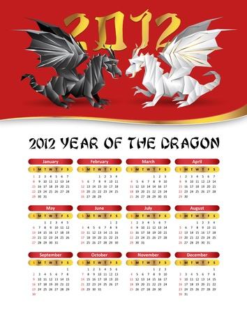 2012 calendar with two dragons - black, white, red colors Vector