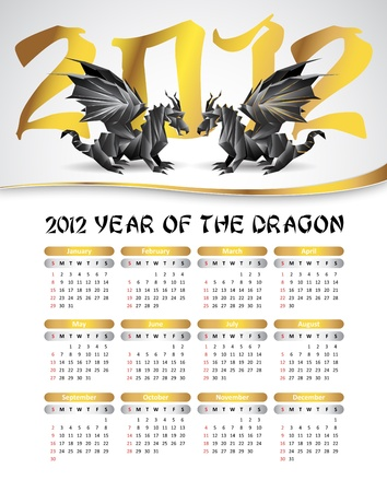 2012 calendar with black origami ragons, symbol of 2012 year - silver and gold colors Vector