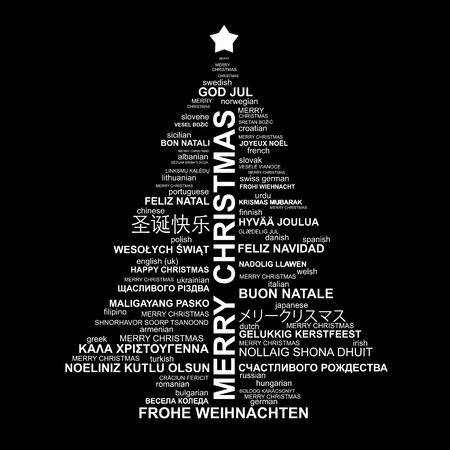 isolado no branco: Black and white Christmas typography illustration - Merry Christmas in different languages Ilustração