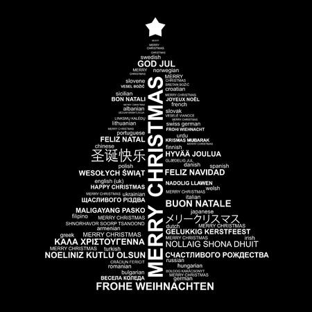Noir et blanc de Noël typographie illustration - Joyeux Noël dans différentes langues Banque d'images - 11267456