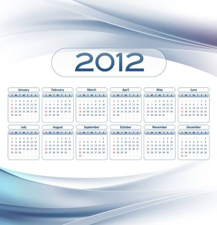 elegant business calendar 2012 year - white and blue wave