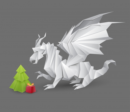 christmas dragon: origami dragon and a Christmas tree with a present - vector creative illustration