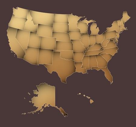 antikes papier: US-Karte mit �berlagerten Zust�nden - bearbeitbare Vektorgrafiken Illustration