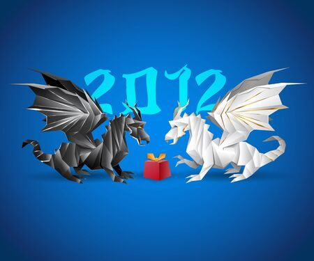 two origami dragons and a present, 2012 year in the background Stock Vector - 11267458