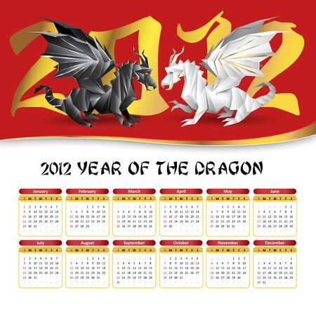 2012 calendar with origami dragons fight - white, red, yellow colors Vector