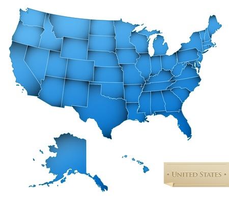 zeměpisný: USA mapa - Spojené státy americké se všech 50 států - modrá barva - na bílém - vektor Ilustrace