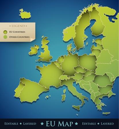 유럽: 유럽 연합 (EU) 국가와 벡터 유럽지도 - 전문 웹 사이트, 브로셔, 배너, 창조적 인 예술 작품 등을위한 훌륭한 장식 디자인 요소