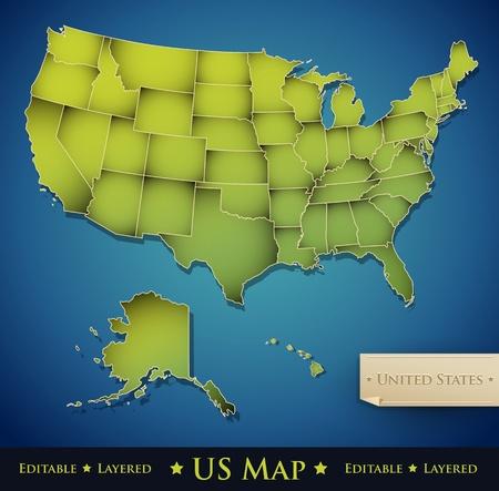 spojené státy americké: Spojené státy americké mapa se všemi 50 státy oddělené - vektor