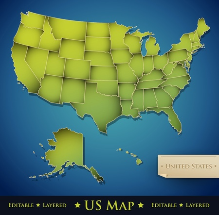 map of the united states: United States map with all 50 states separated - Vector