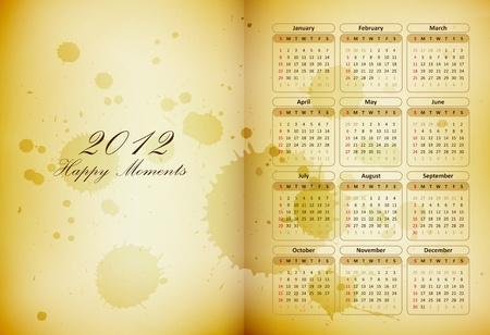 moleskine: old book page with a calendar and coffee stains - happy moments diary - vector