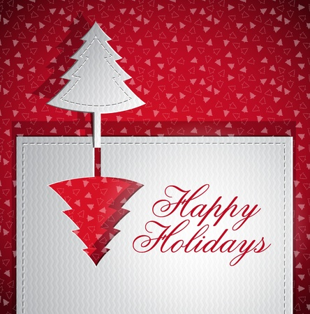 Christmas trendy greeting card - silver and red - paper cut vector illustration Vector