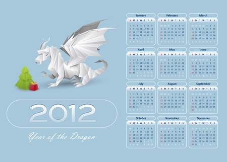 calendar 2012 blue color - vector Vector