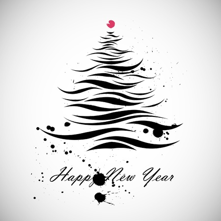 New Year Christmas tree shape in calligraphic style Vectores