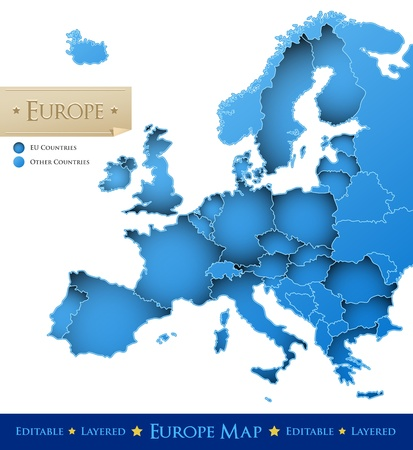 carte europe: L'Union europ�enne de carte vectorielle - bleu carte de l'Europe isol� sur fond blanc - tous les pays sont s�par�s par des fronti�res d'AVC