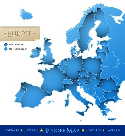 mapa europa: Uni�n Europea vector mapa - mapa de Europa azul sobre fondo blanco - todos los pa�ses est�n separados por fronteras tiempos Vectores