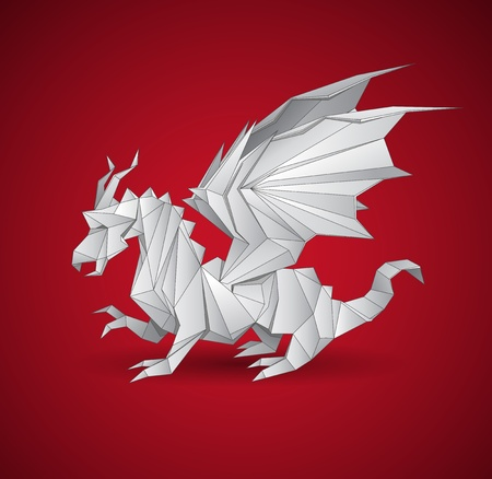 vector dragon origami illustration on a red background Vector