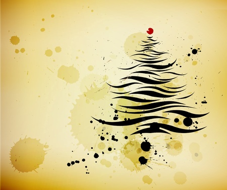 grunge background and ink brushed abstract christmas pine tree - vector Vector