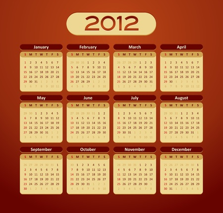 2012 calendar - vintage styled - maroon, orange, yellow color Vector