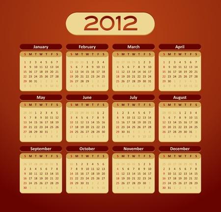 2012 calendar - vintage styled - maroon, orange, yellow color Stock Vector - 11473874