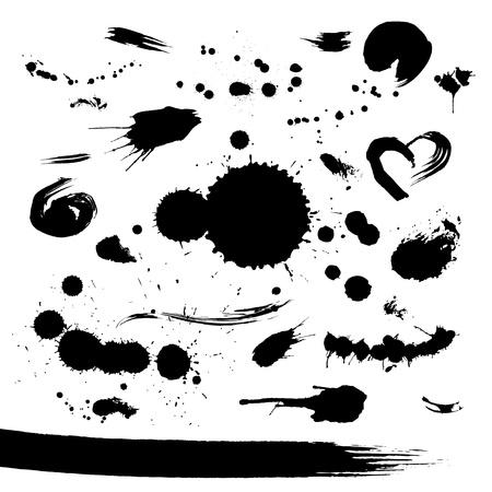 Grunge set van verf vlekken voor ontwerper - tekst grungy decoratie - vector Stockfoto - 11473873