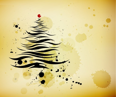christmas tree illustration: grunge background and ink brushed abstract christmas tree