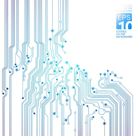 circuitboard: astratto tecnologia - blu texture circuito isolato su sfondo bianco Vettoriali