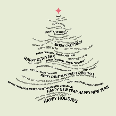 Christmas tree shape from words - typographic composition - vector