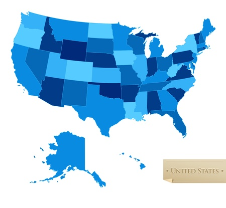 US map - United States map with all 50 states - blue color - isolated on white - Vector
