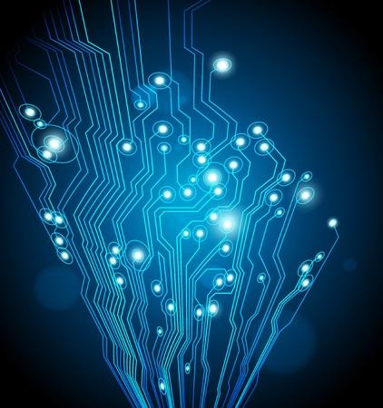 abstracte technologie achtergrond - blauwe kleur - vector - ideaal voor high-tech, industriële, stedelijke, moderne IT-ontwerpen Stock Illustratie