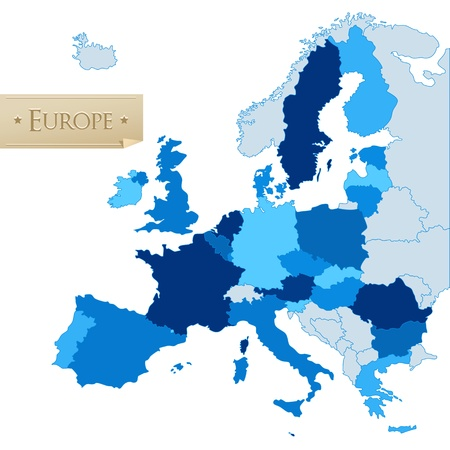 European Union countries map, isolated on white Vector