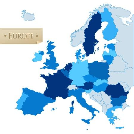 mapa de europa: Uni�n Europea los pa�ses del mapa, aislado en blanco Vectores