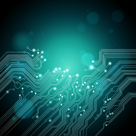 abstract technology background - dark green color - vector