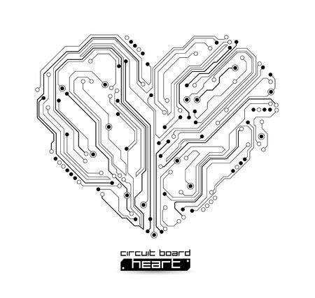 circuitos electronicos: forma de coraz�n de fondo la tecnolog�a - ilustraci�n vectorial Vectores