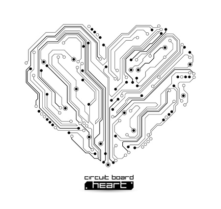 electronic circuit: heart shape technology background - vector illustration Illustration
