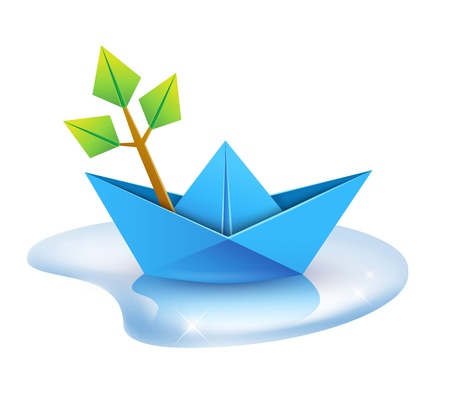 puddle: Spring banner design - paper ship and green leaves branch