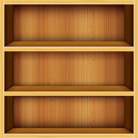 book shelf: vector wooden shelves design background