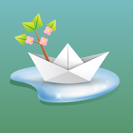 spring background concept - paper ship in a water with a blossom branch - origami creative design element Vector