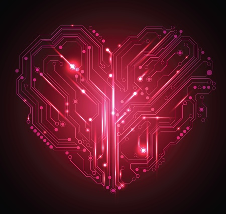 circuit board heart abstract red background - creative idea vector Illustration