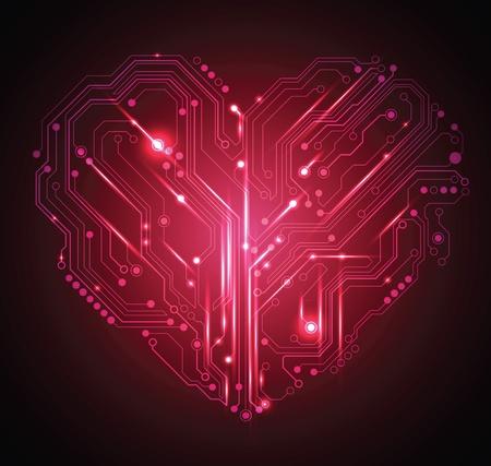 altas: circuito de placa del corazón abstracto fondo rojo - vector de la idea creativa Vectores