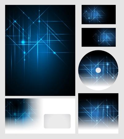 corporate identity templates - vector - editable business cards design, letterhead, brochure cover, cd dvd cover Stock Illustratie