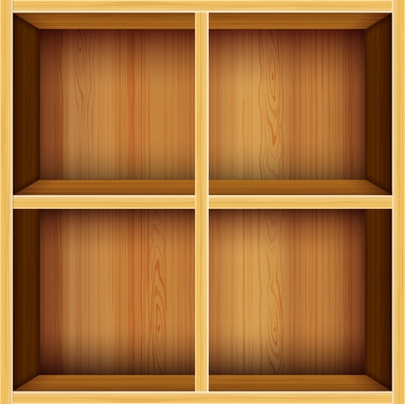 book shelf: vector wooden shelves background