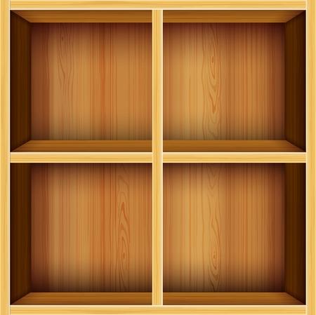 showcase interior: vettore sfondo ripiani in legno Vettoriali