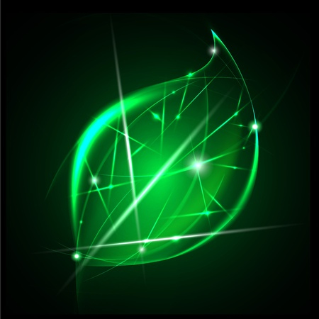 go green abstract background - ecology concept - green leaf symbol made of light Stock Illustratie