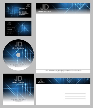 business style templates - vector editable business cards design, letterhead, brochure, cd dvd cover  イラスト・ベクター素材