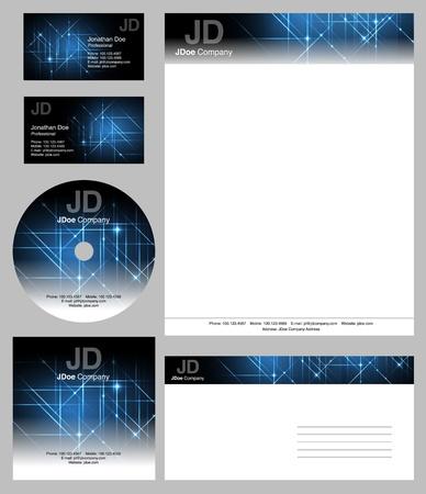 zakelijke stijl templates - vector bewerkbare visitekaartjes ontwerp, briefpapier, brochure, CD DVD hoes