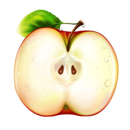 appel water: appel geà ¯ soleerd op witte achtergrond - vector Stock Illustratie