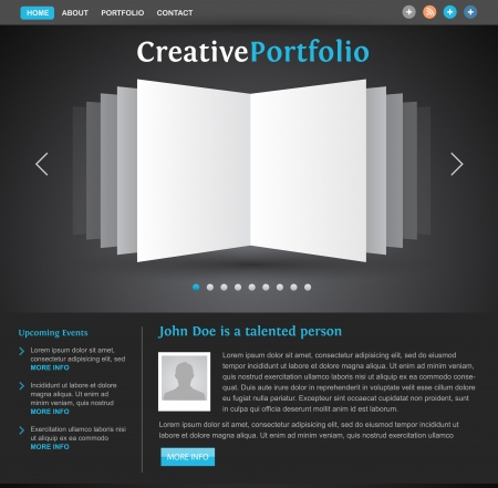 web design portfolio template - book pages view - creative layout for designers and photographers Stock Vector - 14176237