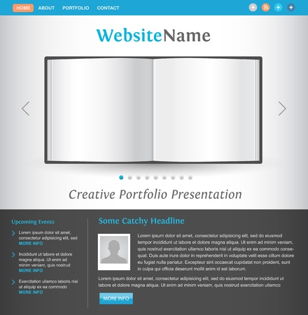 photo album book: web site design template - book pages view - creative layout for portfolio showcase - easy editable vector